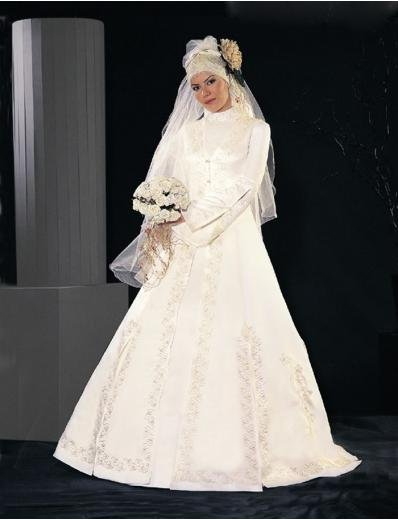New sexy Prom/Ball/Evening Islamic Wedding Dress(MSL014) Custom Size  voile&satin