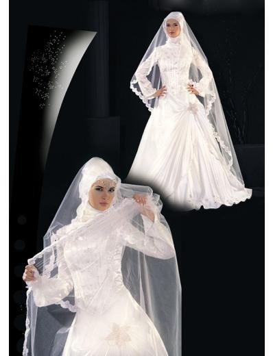 New sexy Prom/Ball/Evening Islamic Wedding Dress(MSL012) Custom Size  voile&satin