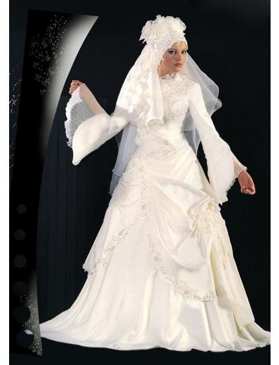 New sexy Prom/Ball/Evening Islamic Wedding Dress(MSL009) Custom Size  voile&satin