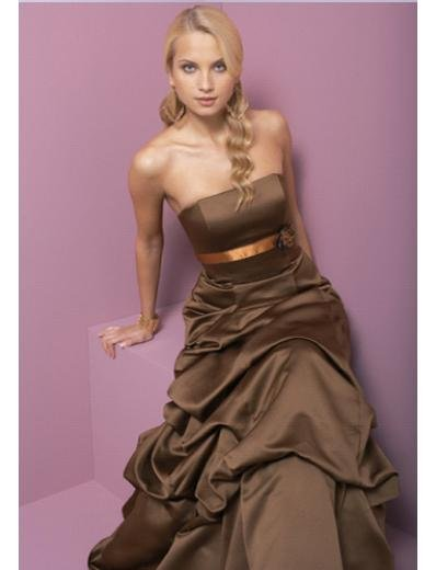 A-Line Strapless Floor Length Satin Prom Dress(PDS0044)