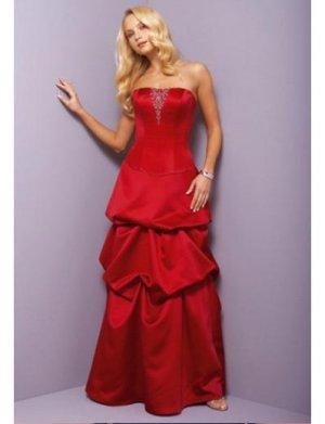 A-Line Strapless Floor Length Satin Prom Dress(PDS0065)