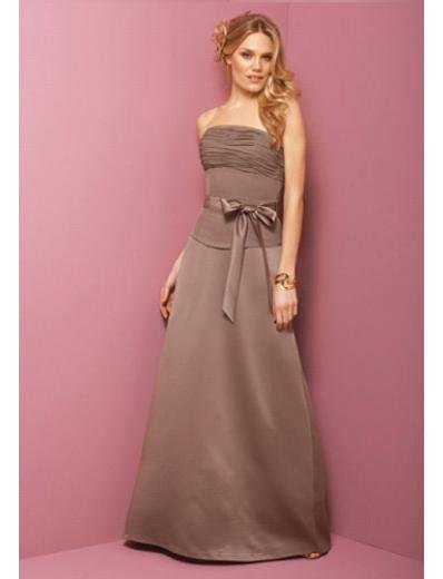 A-Line Strapless Floor Length Satin Prom Dress(PDS0068)  for Women's Clothing
