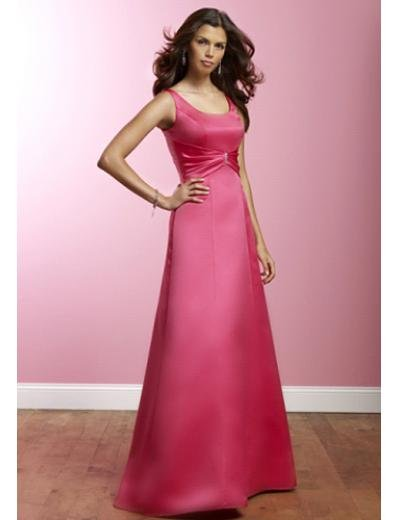 A-Line Scoop Floor Length Satin Prom Dress(PDS0074) for Women's Clothing