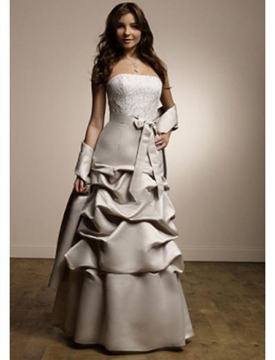 A-Line Strapless Floor Length Satin Prom Dress(PDS0079) for Women's Clothing
