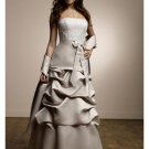 A-Line Strapless Floor Length Satin Prom Dress(PDS0079) for Women's Clothing