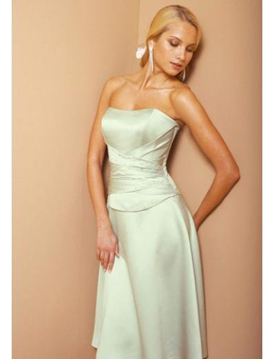 A-Line Strapless Knee-length Satin Prom Dress(PDS0062) for Women's Clothing