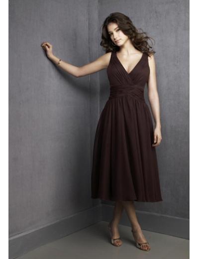 A-Line V-neck Knee-length Satin Prom Dress(PDS0060) for Women's Clothing