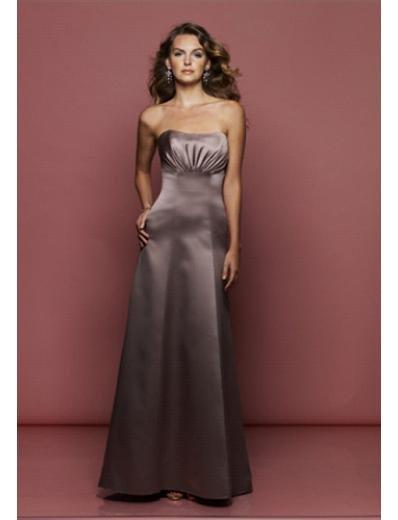 A-Line Strapless Floor Length Satin Prom Dress(PDS0046) for Women's Clothing