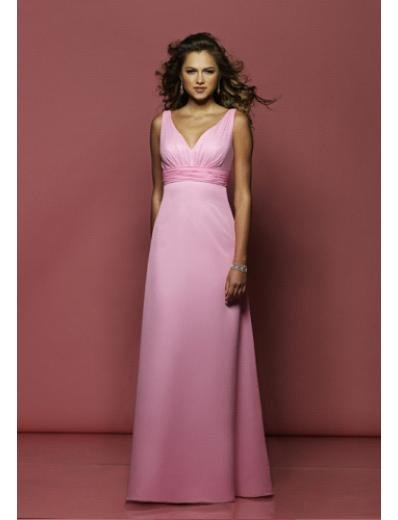 Empire V-neck Floor Length Satin Prom Dress(PDS0050)  for Women's Clothing