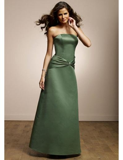 A-Line Strapless Floor Length Satin Prom Dress(PDS0080) for Women's Clothing