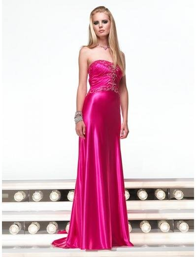 Empire Strapless Sweeping Train Satin Prom Dress(PS0006) for Women's Clothing