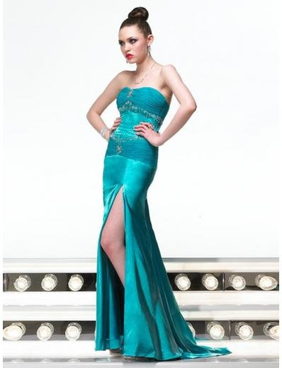 Empire Strapless Sweeping Train Satin Prom Dress(PS0005) for Women's Clothing