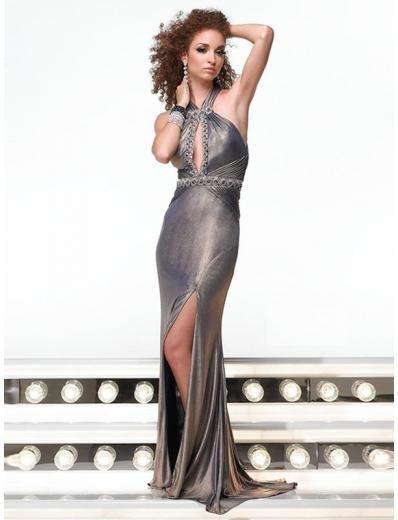 Empire Halter Floor Length Satin Prom Dress(PS0004) for Women's Clothing