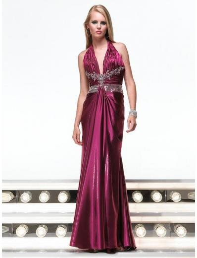 Empire Halter Top Floor Length Satin Prom Dress(PS0002) for Women's Clothing