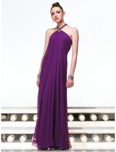 Column/Sheath Halter Floor Length Chiffion Prom Dress(PS0024) for Women's Clothing
