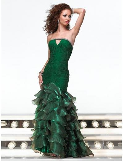 Mermaid Strapless Floor Length organza Prom Dress(PS0010) for Women's Clothing