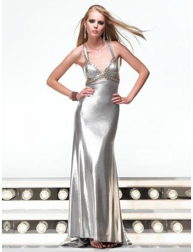 Empire Halter Top Sweeping Train Satin Prom Dress(PS0011) for Women's Clothing