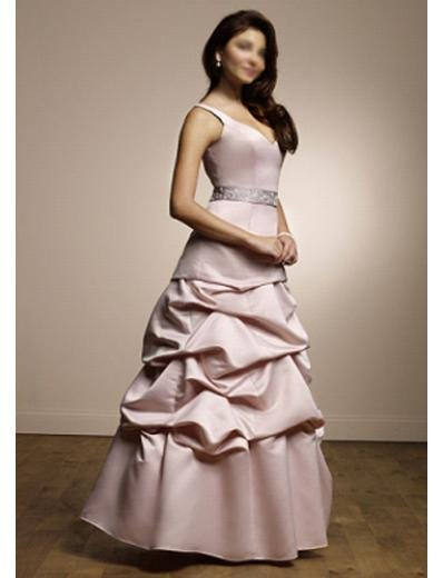 A-Line V-neck Floor Length Satin Prom Dress(PDS0082) for Women's Clothing