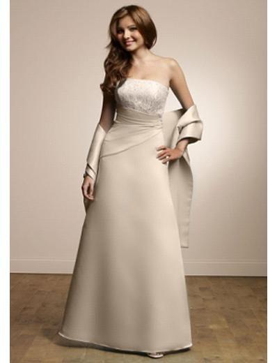 A-Line Strapless Floor Length Satin Prom Dress(PDS0083) for Women's Clothing