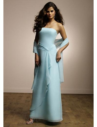 Column/Sheath Strapless Tea-length Chiffion Prom Dress(PDS0084) for Women's Clothing