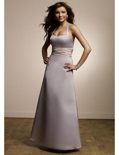 A-Line Halter top Tea-length Satin Prom Dress(PDS0085) for Women's Clothing