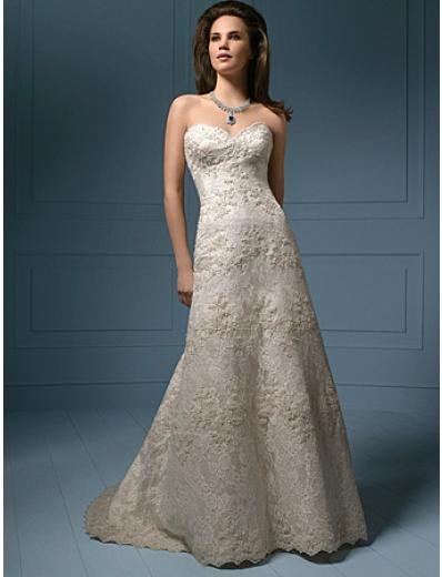 A-Line/Princess Strapless Chapel Train Lace wedding dress (WS0031)