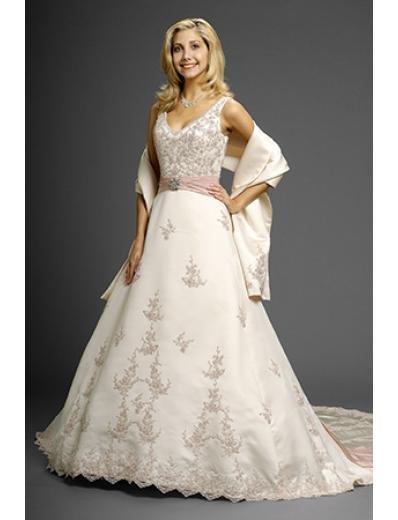 A-Line/Princess V-neck Cathedral Train Satin Chiffon wedding dress (WD6619)