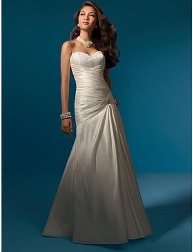 A-Line/Princess Strapless Chapel Train Taffeta wedding dress (WS0023)
