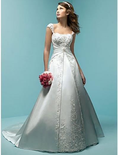 A-Line/Princess Square Chapel Train Satin wedding dress (WS0040)