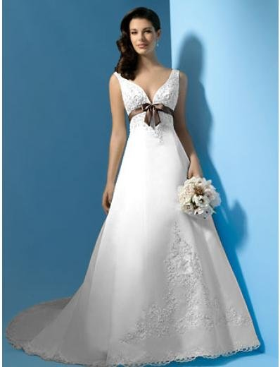 A-Line/Princess V-neck Chapel Train Satin wedding dress (WS0042)