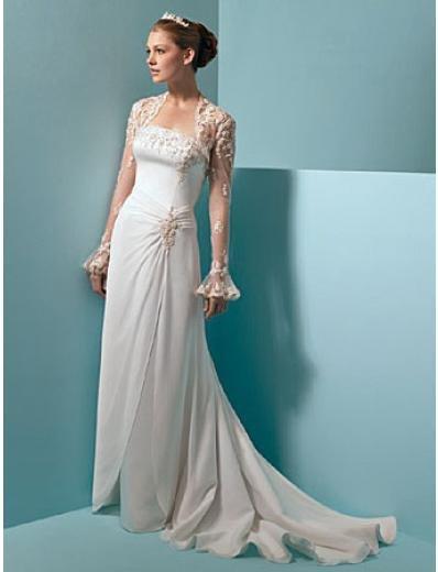 A-Line/Princess Strapless Chapel Train Satin Chiffon wedding dress (WS0044)