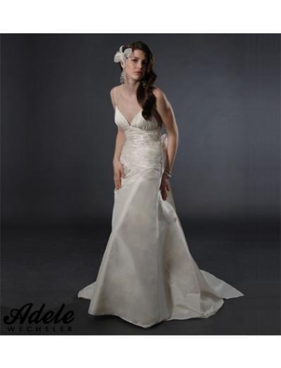 A-Line/Princess spaghetti straps v-neck Chapel Train Taffeta wedding dress (WD0801)
