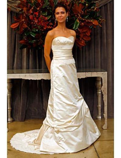 A-Line/Princess Strapless Chapel Train Taffeta wedding dress (WD010)
