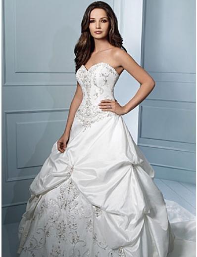 A-Line/Princess Strapless Chapel Train Taffeta wedding dress (WS0034)
