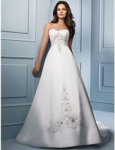 A-Line/Princess Strapless Chapel Train Satin wedding dress (WS0035)