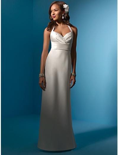 A-Line/Princess halter top Satin wedding dress (WS0025)