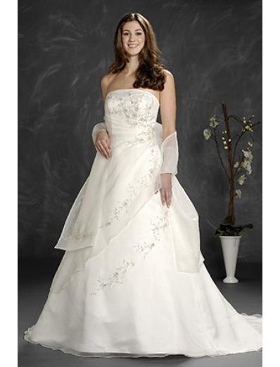 A-Line/Princess Strapless Chapel Train Satin wedding dress (WD6202)