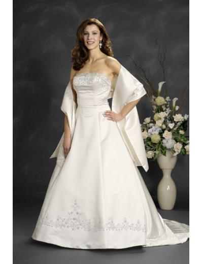 A-Line/Princess Strapless Chapel Train Satin wedding dress (WD6000)