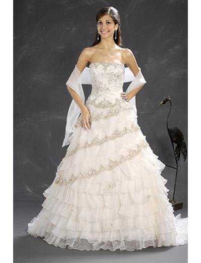 A-Line/Princess Strapless Chapel Train Organza wedding dress (WD5821)