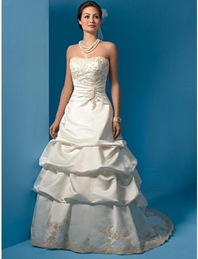 A-Line/Princess Strapless Chapel Train Satin wedding dress (WS0018)