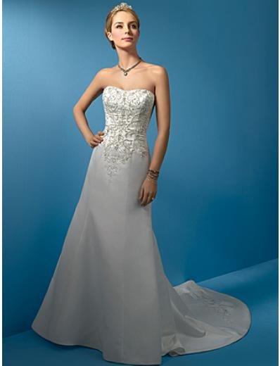 A-Line/Princess Strapless Chapel Train Satin wedding dress (WS0012)
