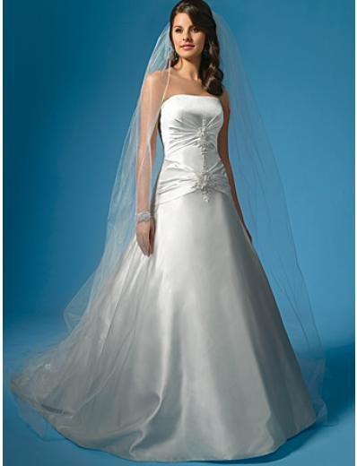 A-Line/Princess Strapless Chapel Train Satin wedding dress (WS0013)