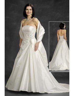A-Line/Princess Strapless Chapel Train Satin wedding dress (WD6401)