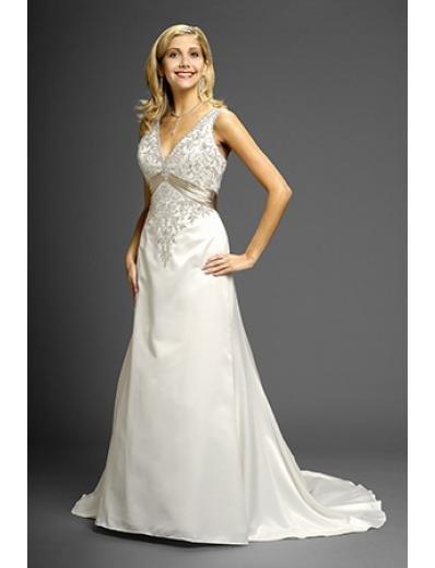 A-Line/Princess V-neck Chapel Train Satin wedding dress (WD9620)