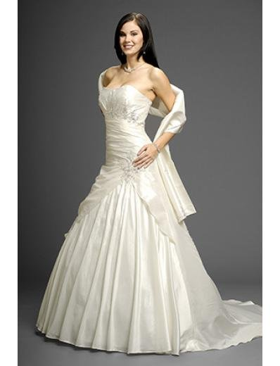 A-Line/Princess Bateau Chapel Train taffeta wedding dress (WD9615)