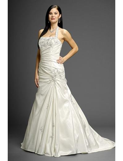 A-Line/Princess Halter top Chapel Train Taffeta wedding dress (WD9650)