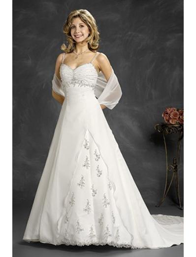 A-Line/Princess Spaghetti straps Chapel Train Chiffon wedding dress (WD6146)