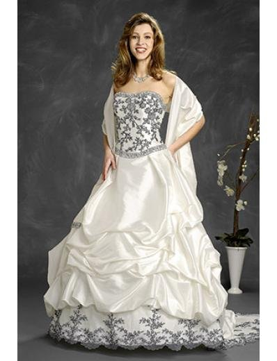 A-Line/Princess Strapless Chapel Train Satin Lace wedding dress (WD6414)