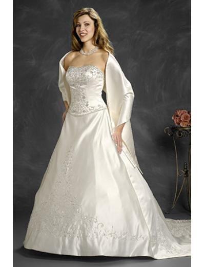 A-Line/Princess Strapless Cathedral Train Satin wedding dress (WD6405)