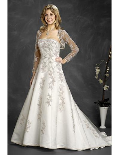 A-Line/Princess Strapless Cathedral Train Satin wedding dress (WD6410)